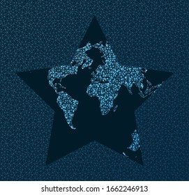 Global network. Berghaus projection. World Network. Charming connections map. Vector illustration.