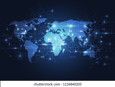 Global network business connection. World map point and line composition concept of global business. Vector Illustration