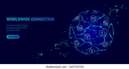 Global network connection 5G internet high speed rate. World point line worldwide information technology data exchange business. Planet Earth blue space low poly polygonal render vector Illustration