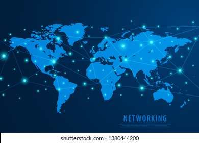 Global network connection background, blue world map, vector, illustration, eps file