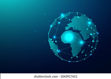 Global network connection with business concept and world map line, vector illustrator