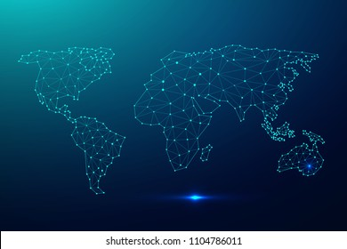 Global network connection with business concept and world map, vector illustrator