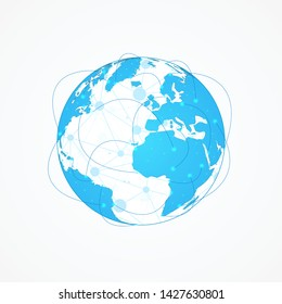 Global network connection concept, Abstract globe map technology