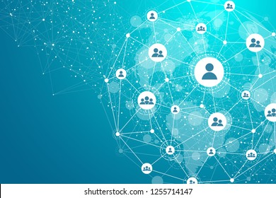 Global network connection concept. Big data visualization. Social network communication in the global computer networks. Internet technology. Business. Science. Vector illustration