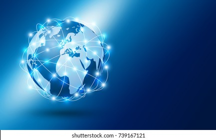 Global network connection design with copy space vector illustration