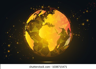 Global network connection. Gold World map hexagonal polygonal mesh and line as business, composition concept. Vector Illustration.