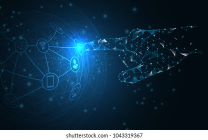 Global network connection ,hand touch the future vector  concept