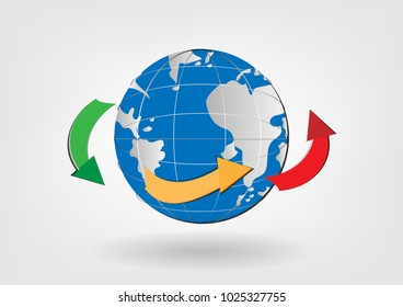 Global network connection international business technology concept. vector illustrations. worldwide web communication net on globe shape with map on white gray background