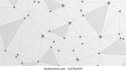Global network connection low poly grid. Interlinked nodes, atom, web or big data cloud structure concept. Network nodes information technology concept.