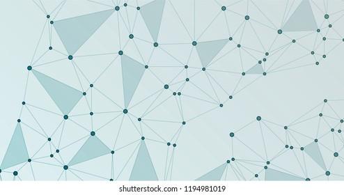 Global network connection polygonal grid. Interlinked nodes, neuron or social media structure concept. Network nodes information technology concept.