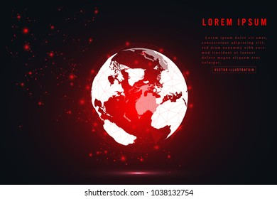 Global network connection. Red globe hexagonal mesh and line isolated on white as business, composition concept. Vector Illustration.