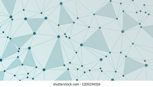 Global network connection triangles grid. Interlinked nodes, molecular or  big data cloud structure concept. Network nodes information technology concept.