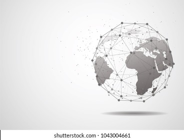 global network connection world map point and line composition concept of global business vector