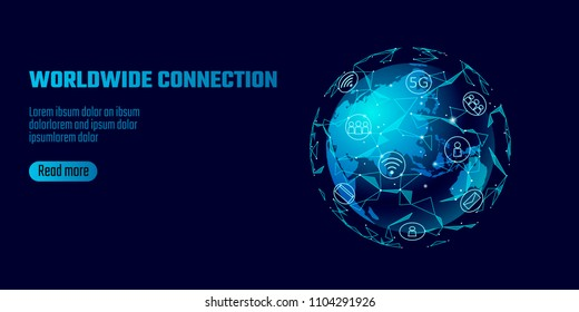Global network connection. World map Asia continent point line worldwide information technology dat exchange business. Planet Earth space low poly polygonal render vector Illustration