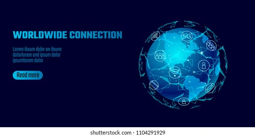 Global network connection. World map America continent point line worldwide information technology dat exchange business. Planet Earth space low poly polygonal render vector Illustration