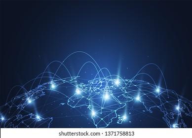 Globale Netzwerkverbindung. Weltkarte Punkt-und Linie-Kompositionskonzept für globales Geschäft. Vektorgrafik