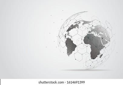 Globale Netzwerkverbindung. Weltkarte Punkt-und Linie-Kompositionskonzept für globales Geschäft. Vektorillustration-Illustration