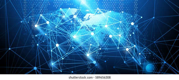 Global network connection. World map. Vector illustration