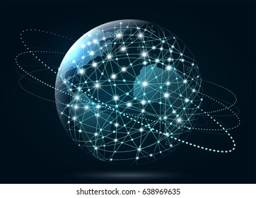 Global network connection. World Wide Web, connection of lines a