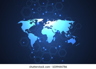Global network connections with dynamic points and lines. Internet connection background with world map. Abstract connection structure. Polygonal space background. Vector illustration