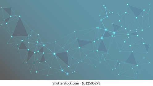 Global network connections with points and lines. Interlinked nodes concept. Scientific presentation background with network nodes. Molecular, social media or web structure with connected points.