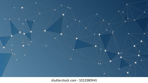 Global network connections with points and lines. Interlinked nodes concept. Scientific presentation background with network nodes. Social media or web structure with connected points on blue.