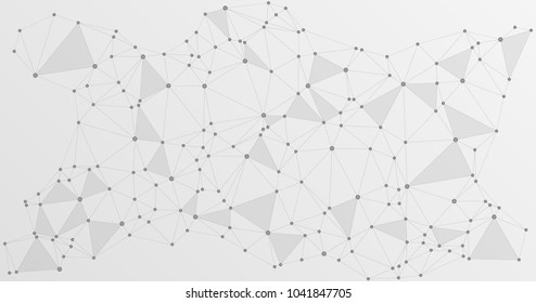 Global network connections with points and lines. Interlinked nodes concept. Scientific presentation background. Network nodes. Molecule, social media, big data cloud structure of connected points.