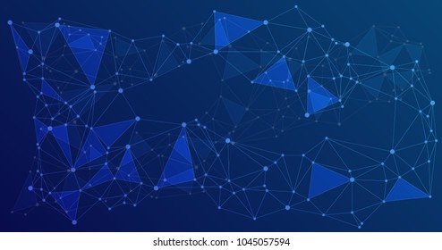 Global network connections with points and lines. Interlinked nodes concept. Scientific presentation background with network nodes. Big data, social media chains or web structure with connected points