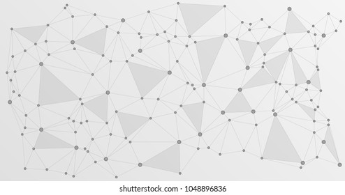 Global network connections with points and lines. Interlinked nodes concept. Scientific brochure background. Network nodes. Molecular, social media, big data cloud structure of connected points.