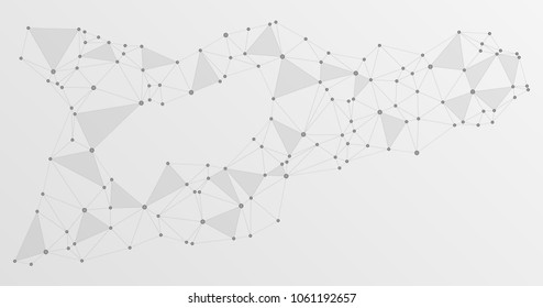 Global network connections with points and lines. Interlinked nodes concept. Scientific presentation background. Network nodes. Communication, social media, big data cloud structure, connected points.