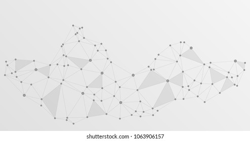Global network connections with points and lines. Interlinked nodes concept.  Information technology concept. Network nodes. Molecular, social media, big data cloud structure of grey connected points.