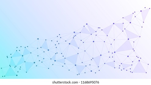 Global network connections with points and lines. Interlinked nodes concept. Scientific blue background with network nodes. Big data, social media chains or web structure with connected points