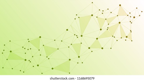 Global network connections with points and lines. Interlinked nodes concept. Scientific presentation background. Network nodes. Green social media, big data cloud structure of connected points.