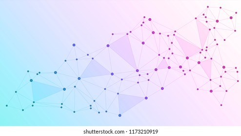 Global network connections with points and lines. Interlinked nodes concept. Scientific presentation background. Network nodes. Molecular, social media, big data cloud structure of connected points.