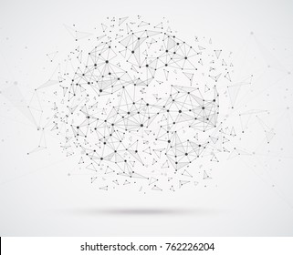 Global network connections with points and lines geometric shape with spherical triangular faces.Wireframe of network communications.