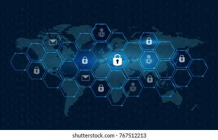 Global network security world map Key lock security system abstract technology world digital link cyber security on hi tech Dark blue background, Enter password to log in  Vector illustration