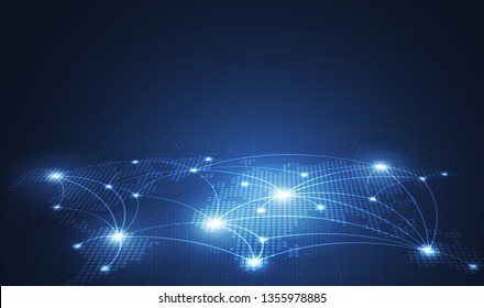 Global network technology background with world map or social media communication internet network Connection vector design.