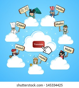 Global networks online translation app concept background. Vector illustration layered for easy editing.