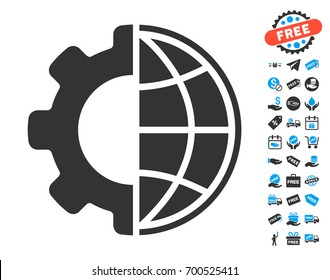 Global Options gray pictograph with free bonus design elements. Vector illustration style is flat iconic symbols.