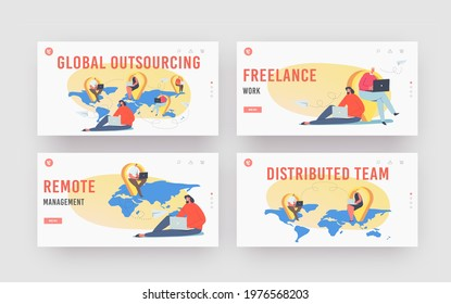 Global Outsourcing Landing Page Template Set. Businesspeople with Laptop Sitting at Navigation Pins on World Map. Characters Working Distantly Connected in Network. Cartoon People Vector Illustration