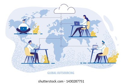 Global Outsourcing, People Using Cloud System in Distant Work and Data Storage. Men and Women Characters Sitting at Desks Working on Laptops Connected in Network. 3d Vector Isometric Illustration