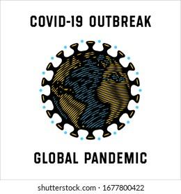 Global Pandemic. Coronavirus Pandemia Protection Badge. Stay Home Design Concept. Corona Virus Earth Globe Icon. Covid Caution Sign. Stop covid-19. Coronavirus outbreak.