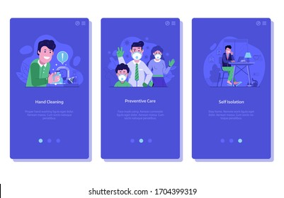 Global pandemic medical application onboarding screens with hand washing and cleaning, people use face masks and self isolation concepts. Stop virus infection spread prevention measures illustrations.