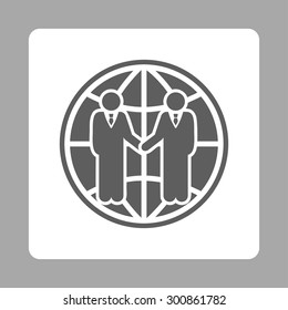 Global partnership icon. Vector style is dark gray and white colors, flat rounded square button on a silver background.
