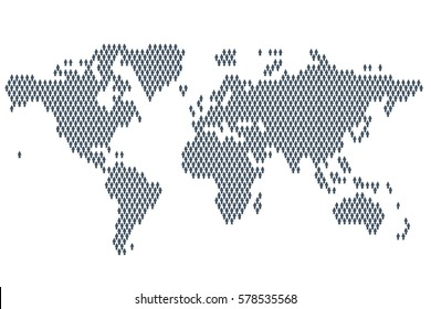Global population. World map made up of people icon