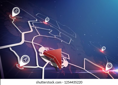 Global Positioning System concept. Gps icon and pin location on earth map.vector illustration