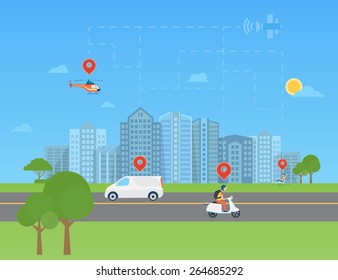 Global positioning system data monitoring. Urban landscape with transport