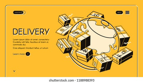 Global postal mail delivery vector illustration in isometric thin line design on yellow halftone background. Mail envelopes and parcel boxes with postage stamps around world globe