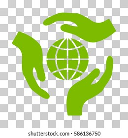 Global Protection vector pictogram. Illustration style is flat iconic eco green symbol on a transparent background.