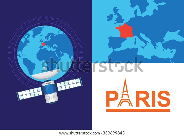 Global Satellite France Location Paris Vector Stock Vector ...